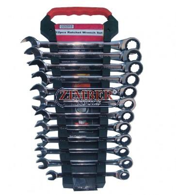 Ключoвe звездогаечни с тресчотка 72 зъба к-т 12 части , ZR-17RWS12V02- ZIMBER-PROFESSIONAL