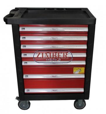 Инструментална количка (шкаф) 7 отделения, к-т с инструменти   ZT-01163K - SMANN TOOLS