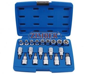 Star socket set 19pcs. - (ZR-14TSB1219V) - ZIMBER TOOLS