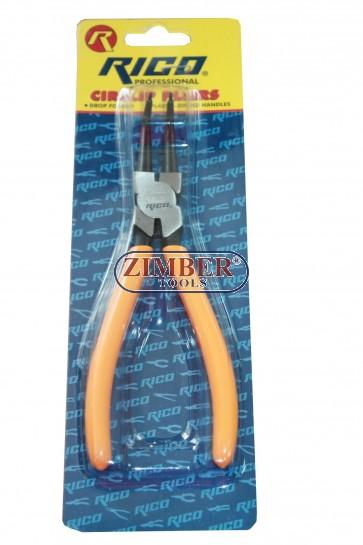 Зегер клещи криви затварящи 170-mm - RICO-PROFESSIONAL