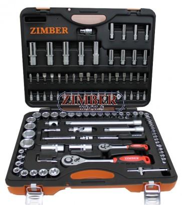 "Гедоре 108 части комбинирано 1/2"" и 1/4"" (ZR-01SS141210802) - ZIMBER PROFESSIONAL"