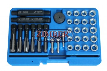 К-т за възстановяване на резби на свещи 33 бр 8mm, 10mm, 12mm ,14 mm- ZR-36GPTRS33 - ZIMBER TOOLS.