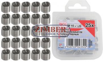 Втулки за възстановяване на резби M10 x 1.25 mm 25 бр. (9428-1) - BGS PROFESSIONAL