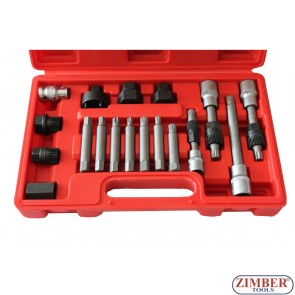 К-т за демонтаж на шаибите на алтернатори 18 части, ZT-04609 - SMANN TOOLS