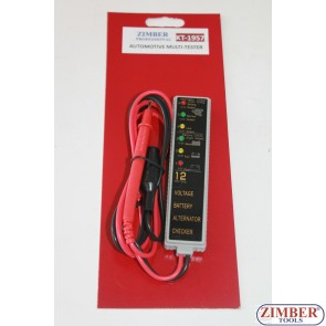 Мултифункционален ел. тестер, волтметър, тест на акомулатор, тест на алтернатор ZL-1957 - ZIMBER PROFESSIONAL