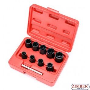"""Вложки екстрактори 3/8"""" от 10mm ~ 19mm - 10 части. ZT-01Z5193- SMANN PROFESSIONAL"""