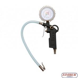 Манометър - пистолет за помпане на гуми до 12 bar - BGS