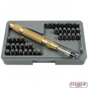 Цифри и букви за Ръчно Автоматично набиване  36 в 1  к-т, ZR-18APS37 - ZIMBER PROFESSIONAL