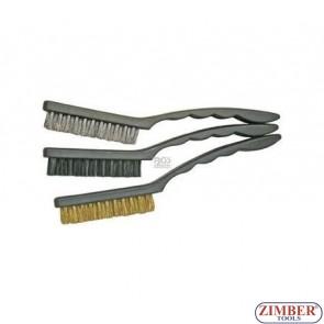 Четки за почистване 3 броя, от месинг, найлон, стомана -3079 -  BGS technic