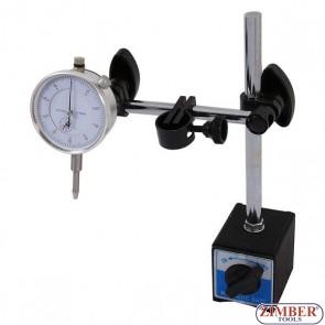 К-т магнитна стойка с индикаторен часовник 0-10mm, 3785-  Neilsen-Tools