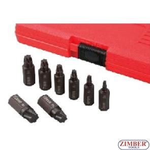 К-т екстрактори за скъсани болтове 8-бр, Torx-Plus- ZR-36TPES8 -  ZIMBER PROFESSIONAL