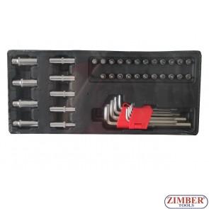 """К-т Г-образни шестограми, вложки и накрайници на 1/4"""" 41ч.за количка, ZT-00841 - SMANN TOOLS"""