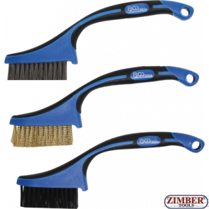 Комплект мини четки за почистване на гарнитури за глави, цилиндри, втулки, тръби др. - 165 mm 3 бр, (9314) - BGS PROFESSIONAL