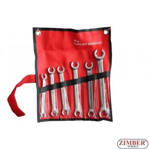 К-т ключове за спирачни тръбички от (8-19мм) - 6 части - ZR-17FNWS0601 - ZIMBER PROFESSIONAL