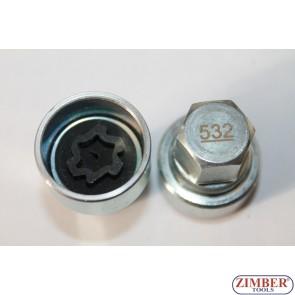 Ключ за секретни болтове на Vag- Volkswagen, Skoda, Audi, Seat -532- ZIMBER -TOOLS