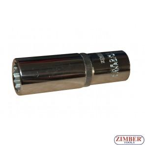 """Вложка удължена 1/2"""" 12-стенна 17мм - ZR-03DS417B - ZIMBER-TOOLS"""